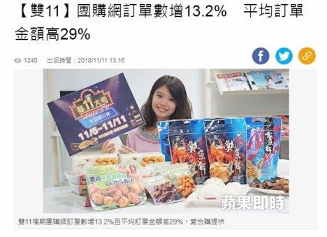 雙11 團購網訂單數增13.2% 平均訂單金額高29%
